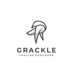 bird grackle line art designs concept template vector image