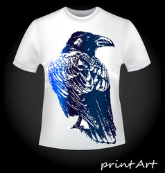 Bird of a raven on a t-shirt vector