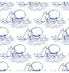 Blue hand drawn waves seamless pattern vector image