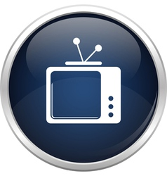 Blue old tv icon vector