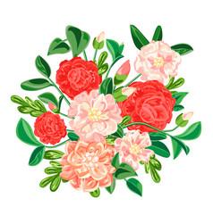 Camellia bouquet icon cartoon style vector