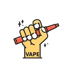 Cartoon graphic hand holding electronic cigarette vector image