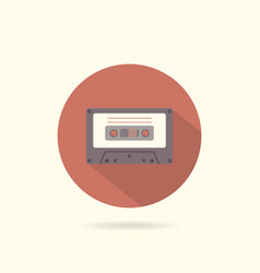 cassette round flat icon vector image