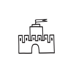 castle icon hand drawn doodle castle building vector image