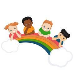 children and rainbow children and rainbow vector image