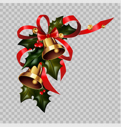 christmas decoration gold bells on holly wreath vector image