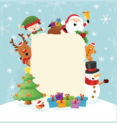 Christmas template with characters vector