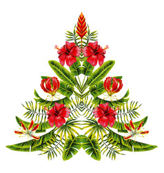 Christmas tree made exotic tropic flowers vector