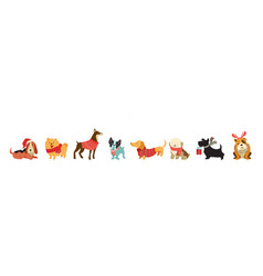 Collection of christmas dogs merry christmas vector