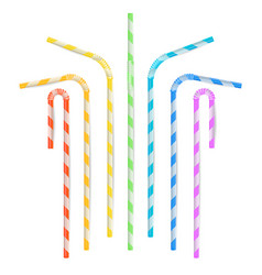 colorful drinking straws different types vector image