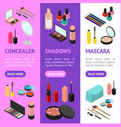 cosmetic products banner vecrtical set isometric vector image