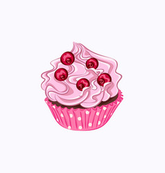 Cupcake with pink cream and red berry vector