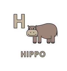 Cute cartoon animals alphabet hippo vector
