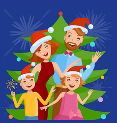 Cute cartoon family celebrates the new year vector
