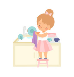 Cute little girl standing on chair and washing vector