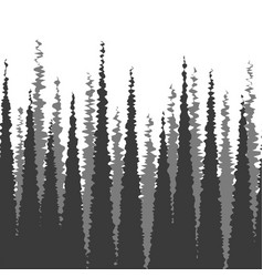 dense forest silhouette fir trees monochrome vector image