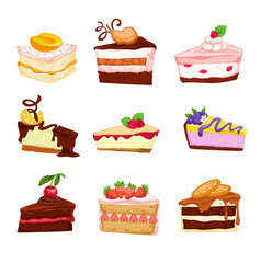 Desserts and sweets cakes and pies with berries vector