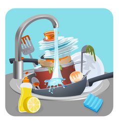 Dirty dishes plates and pans in sink under running vector