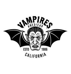 Dracula head with bat wings emblem or print vector
