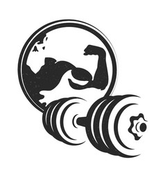 dumbbell symbol for the gym silhouette vector image
