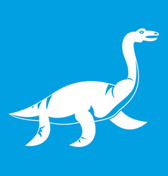 Elasmosaurine dinosaur icon white vector