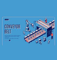 Factory conveyor belt landing page robotic arms vector