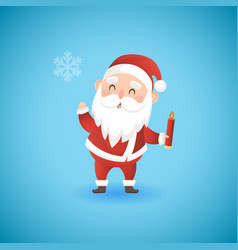 festive christmas funny santa claus holding candle vector image