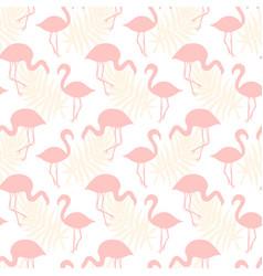 Flamingo birds seamless tropical pattern vector
