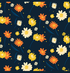 floral seamless pattern yellow white and vector image