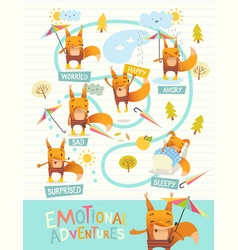Funny fox with colorful umbrella expressing vector