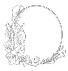 Gladiolus flower Vintage elegant flowers Black vector image
