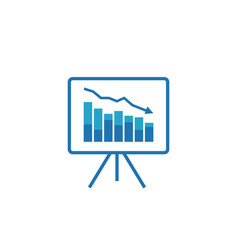 Graph table arrow decrease icon dollar money fall vector