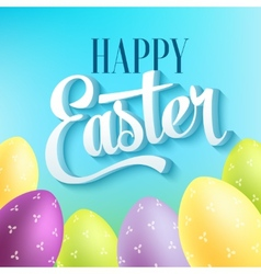 Happy easter typography on blur background with vector image