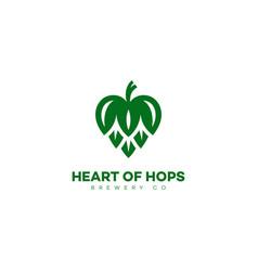 heart hops logo vector image