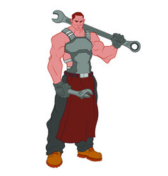 Huge muscular mechanic with big wrench on his vector