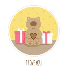 i love you card teddy bear vector image
