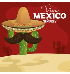 icon viva mexico cactus with hat and moustache vector image