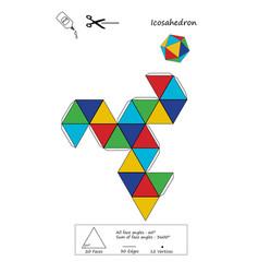 Icosahedron origami vector