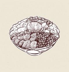 Kaisen donburi a bowl rice with sashimi on vector