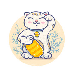 kawaii lucky cat vector image