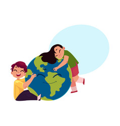 Kids hugging smiling globe earth planet character vector