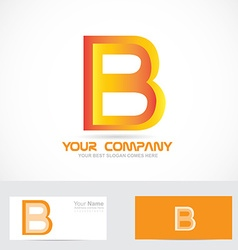 Letter b orange 3d logo icon vector