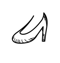 Line beautiful high heel shoes design vector