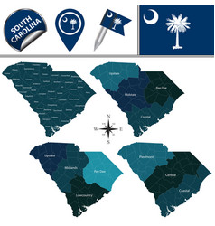 Map of south carolina with regions vector