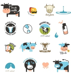 Milk labels elements and icons vector