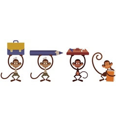 Monkey set vector image