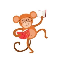Monkey smiling bookworm zoo character wearing vector