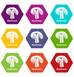 mushroom icons set 9 vector image