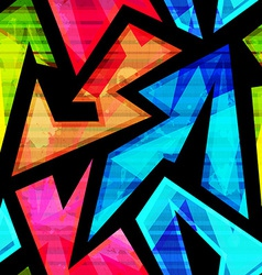 Neon geometric seamless pattern with grunge effect vector