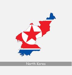 North korea map flag vector